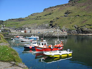Boscastle - View from Boscastle harbour path leading to headland