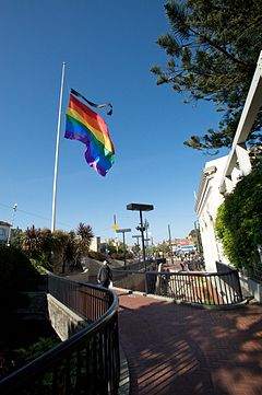 Harvey Milk Plaza-Rainbow Flag-half mast