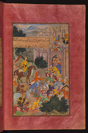 He inhabitants of Osh (Ūsh) drive the enemy out with sticks and clubs and hold the town for Babur