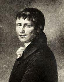 Heinrich von Kleist, Reproduktion einer Illustration von Peter Friedel, die der Dichter 1801 für seine Verlobte Wilhelmine von Zenge anfertigen ließ (Quelle: Wikimedia)