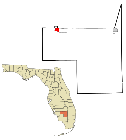 Hendry County Florida Incorporated and Unincorporated areas Labelle Highlighted.svg