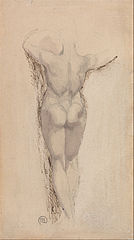 Study of a Back of a Female Nude, Standing