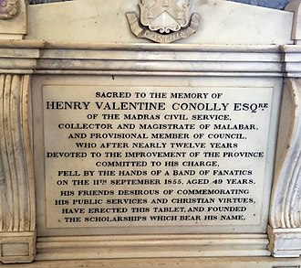 Henry Valentine Conolly - Henry Valentine Conolly Memorial at the St. George's Cathedral, Madras