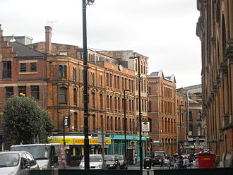 Manchester city centre - The Northern Quarter is known for its warehouses and considered a bohemian part of the city centre.