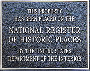 A typical plaque found on National Register of Historic Places listed properties.