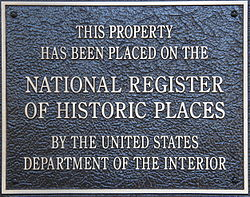 A typical plaque found on properties listed in the National Register of Historic Places