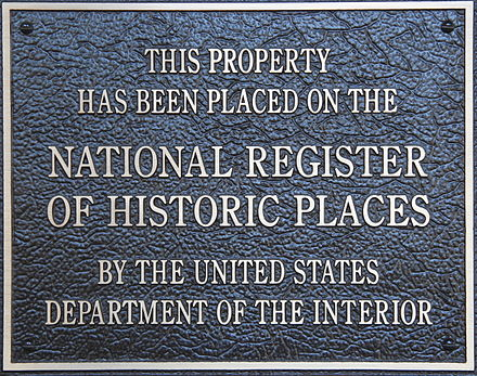 A typical plaque found on properties listed in the National Register of Historic Places. HistoricPlacesNationalRegisterPlaque.JPG