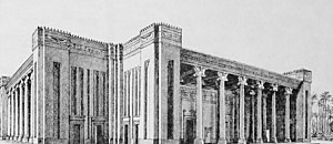 Palace of Darius in Susa - Reconstruction drawing of the Apadana of Susa