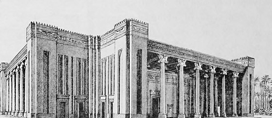 Reconstruction of the Palace of Darius at Susa. The palace served as a model for Persepolis. History of Egypt, Chaldea, Syria, Babylonia and Assyria (1903) (14584070300).jpg