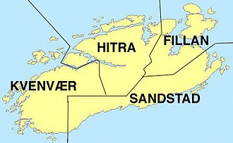 Hitra - Map of the old municipal borders on the island of Hitra