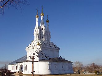 Tented roof - Hodegetria church in Vyazma is one of three major churches with three tents placed in a row.