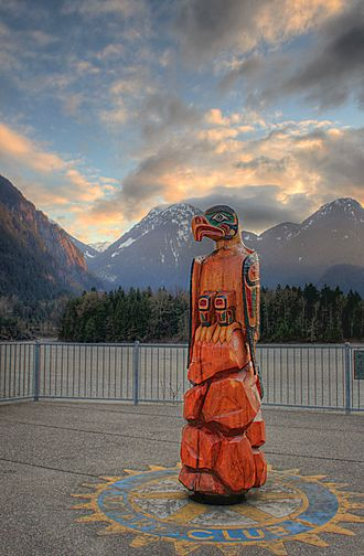 Hope, British Columbia - Totem overlooking Fraser River in downtown Hope