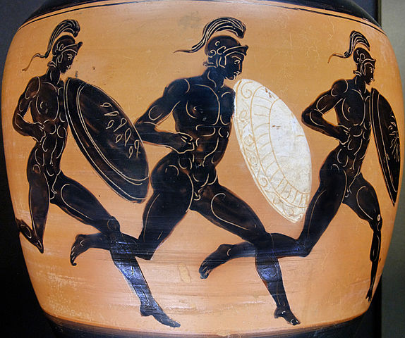 Greek athletes in the hoplitodromos, after greaves were abandoned (c. 322 BC) - Greek Hoplitodromos