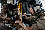 Hospital Corpsman coaches Naval Air Crewman as he inserts a 20 gauge needle into a vein in her hand. (29416000962).jpg