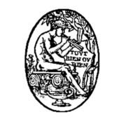 Line drawing of Pan, seated and playing his flute, in side view.