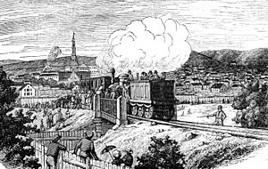 Trunk Line - Depiction of the first trial run of the rails, in 1853