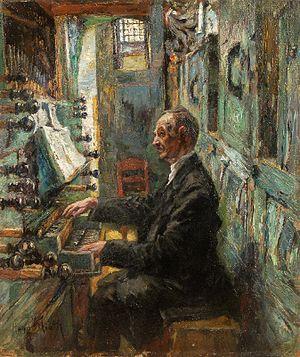 Der Organist, Öl auf Hartfaser. 56 x 48 cm