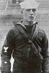 Grainy photograph of Bogart as a young sailor
