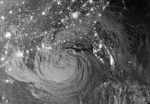 Hurricane Isaac (2012) - Visible satellite image during the early morning of August 29 of Isaac as it slowly moves over the northern Gulf of Mexico.