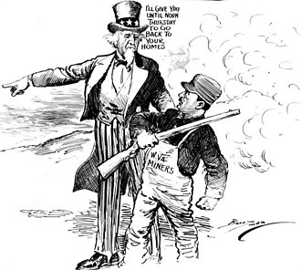 "Battle of Blair Mountain - Political cartoon with Uncle Sam saying to the miners ""I'll give you until noon Thursday to go back to your home."""
