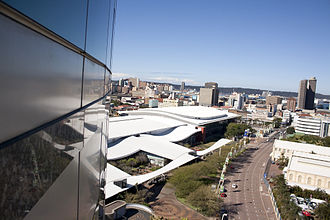 Inkosi Albert Luthuli International Convention Centre - View of the ICC from the adjoining Hilton Hotel