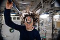 ISS-60 Christina Koch with a water bubble in the Kibo lab.jpg