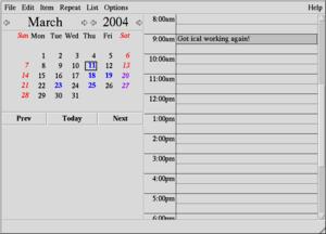 Ical (Unix) - Image: Ical (Unix) screenshot