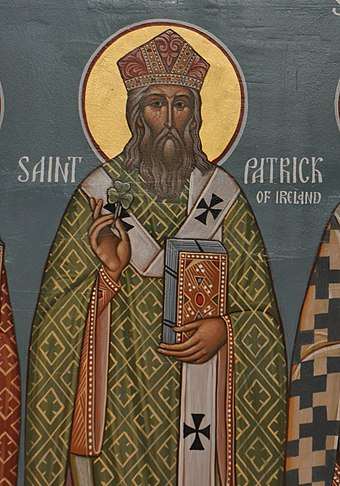 Icon of Saint Patrick from Christ the Savior Orthodox Church, Wayne, WV. Icon of Saint Patrick, Christ the Saviour Church.jpg