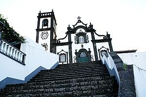 Porto Formoso - The ornate facada and staircase of the parochial Church of Nossa Senhora da Graça