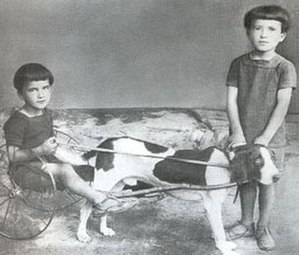 Ilario Bandini - Ilario and his brother Gualtiero (Walter) with their first wheeled vehicle.