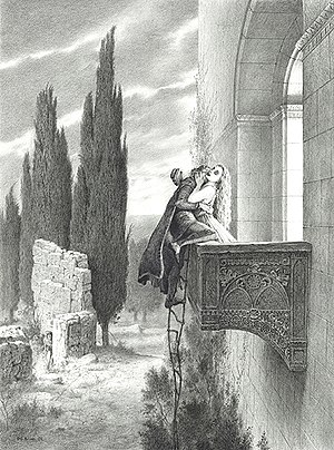 Ariodante - Dalinda disguised as Ginevra admits Polinesso to her bedroom, engraving by Gustave Doré