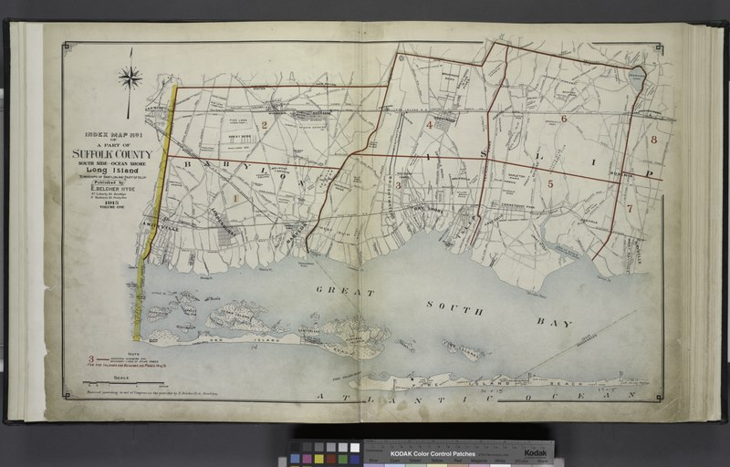 File:Index Map No.1 of a part of Suffolk County. South Side - Ocean Shore, Long Island. Townships of Babylon and Part of Islip Published by E. Belcher Hyde. 97 Liberty Street, Brooklyn. 5 Beekman Street, NYPL1633882.tiff