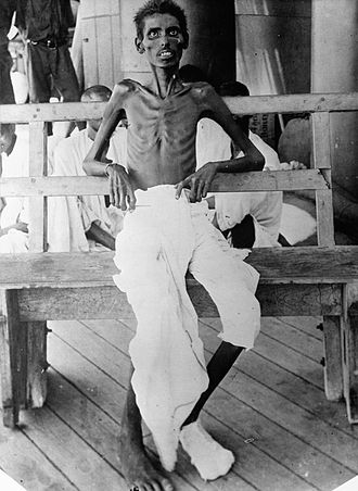 Indian independence movement - This photograph shows an emaciated Indian Army soldier who survived the Siege of Kut, part of the campaign in Mesopotamia