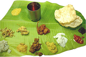 Kichadi - A Sadhya meal served for Onam: Kichadi is the yellow serving, second from lower left