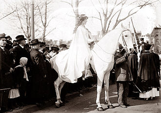 Woman suffrage parade of 1913 - Inez Milholland led the procession.