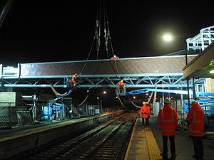 St Helens Central railway station - Image: Installing Bridge at St Helens station