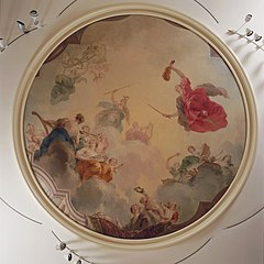 Apollo in the clouds with Minerva and the nine muses
