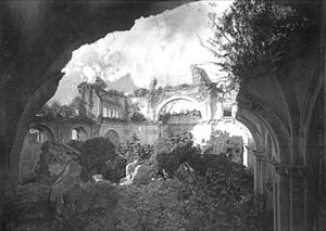 Volcán de Fuego - Ruins of the Society of Jesus church interior in 1880.