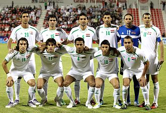 Iraq national football team - The Iraqi national team pose ahead of their 2014 FIFA World Cup qualifying match against China in 2011. Despite being a home match for Iraq, it was played in Doha as Iraq were not allowed to host games in their own country.