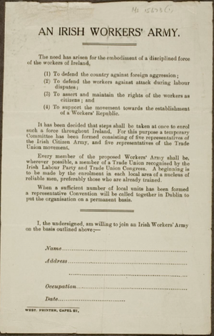 Irish Citizen Army - ICA recruitment poster