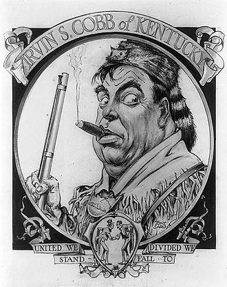 """Irvin S. Cobb - Irvin S. Cobb wearing a coonskin cap and smoking a cigar. Illustration by Tony Sarg for """"The Glory of the States: Kentucky"""" by Irvin S. Cobb, published in The American Magazine for May 1916."""