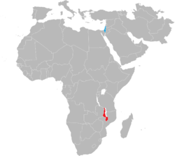 Map indicating locations of Israel and Malawi