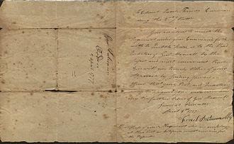 Israel Putnam - Letter from Israel Putnam to Israel Shreve, 1777