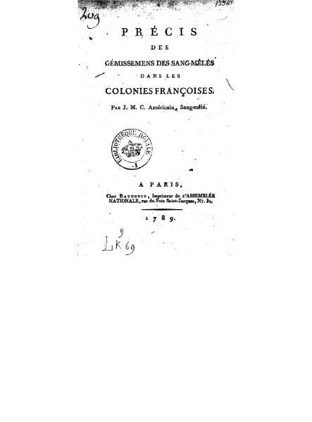 File:J. M. C.- Précis des gémissemens des sang-mêlés dans les colonies françoises, 1789.djvu