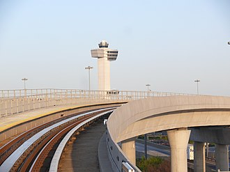 AirTrain JFK - View of JFK Airport's control tower from the AirTrain guideway