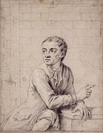 Chalk and pencil sketch of Jack Sheppard in Newgate Prison