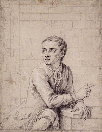 Jack Sheppard - Chalk and pencil sketch of Jack Sheppard in Newgate Prison, attributed to Sir James Thornhill, circa 1723