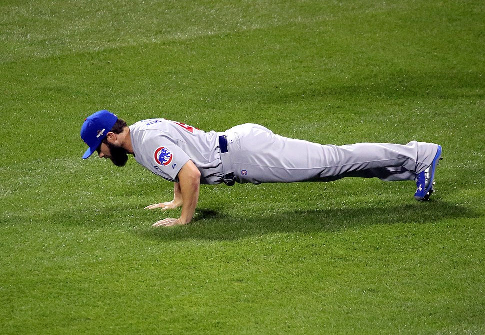 Jake Arrieta does pushups
