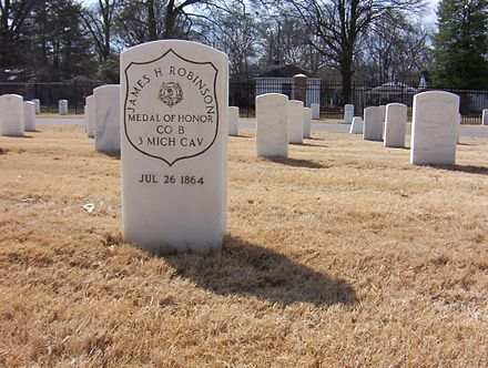 Medal of Honor headstone of James H. Robinson at the Memphis National Cemetery James H Robinson grave.jpg