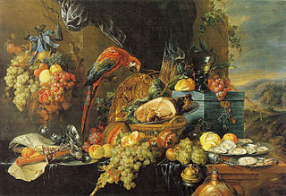 Abundant Still Life with a Parrot
